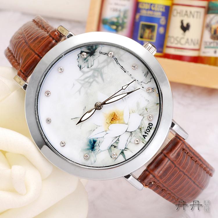 棕色中国风古典时尚荷花皮带手表批发